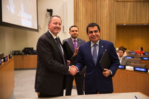 BMW Group Vice President Communications Strategy, Corporate and Market Communications Bill McAndrews (left) and UN High Representative for the Alliance of Civilizations H.E. Nassir Abdulaziz Al-Nasser (right). © BMW Group (PRNewsFoto/BMW Group)