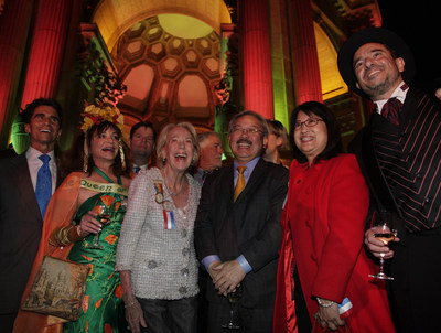 (Left-Right) California Senator Mark Leno, Donna Huggins, Mayor's Liaison to PPIE100, Charlotte Schultz, City's Chief of Protocol, San Francisco City Mayor Edwin E. Lee with his wife Anita Lee joined Phil Ginsburg, General Manager, Recreation and Parks Department as they celebrate the illumination of the Palace of Fine Arts as it was seen by fair attendees one hundred years ago at 1915 World's Fair.  The celebration marked the official start of PPIE100 -- a yearlong series of public events, exhibitions and activities presented by more than 35 Bay Area cultural, civic and business organizations. Photo credit:  Michael Tweed