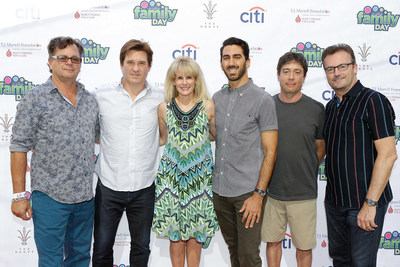 Honorees at the T.J. Martell Los Angeles Family Day held at The Grove in L.A. on Sunday October 9th to benefit Children's Hospital. (l to r) Honoree Kevin Lyman, David Kovach, T.J. Martell Foundation CEO Laura Heatherly, Honoree George Strompolos, Rick Krim and Honoree Rob Lloyd. Photo Credit: Tiffany Rose