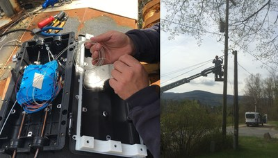 With a careful touch, Slic Network technicians melted together two hair-thin fiber-optic strands, signifying a significant milestone in Internet access for this Adirondack Mountain Community.