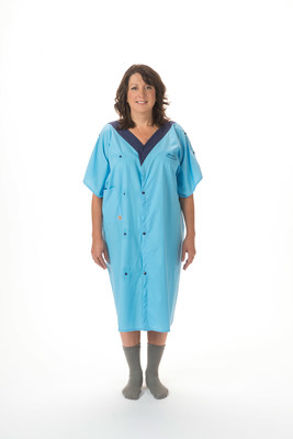 Model G resembles a wrap-around robe to blend style and comfort for the patient with essential clinical function needed by the patient's health care team. It is made from a cotton-poplin blend and features plastic snaps, instead of hard-to-reach ties, for ease of use.