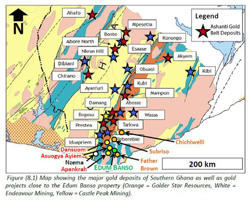 Discovery Gold Corp DCGD Edum Banso Gold Project and Ashanti Gold Belt Deposits. (PRNewsFoto/Discovery Gold ...