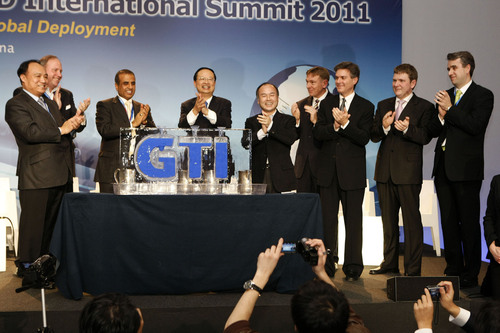 Mr. Houlin Zhao, Deputy Secretary-General of ITU, Mr. Wang Jianzhou, Chairman of China Mobile, Mr. Sunil ...