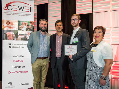 Winterlight Labs was selected as winner of the AGE-WELL Pitch Competition. From left to right: Alex Mihailidis, Scientific Director, AGE-WELL; Kabir Nath, President and CEO, Otsuka North America Pharmaceuticals; Liam Kaufman, CEO and Co-founder, Winterlight Labs; and Mary Michael, Senior Director, Otsuka America Pharmaceutical, Inc.