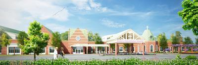 Front entrance image rendering - Madonna Rehabilitation Center(PRNewsFoto/Madonna Rehabilitation Hospital) (PRNewsFoto/MADONNA REHABILITATION HOSPITAL)