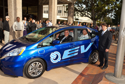 Honda delivered a 2013 Fit EV battery-electric vehicle to the city of Torrance today as one of the first major steps in the Honda Electric Vehicle Demonstration Program.  (PRNewsFoto/Honda)