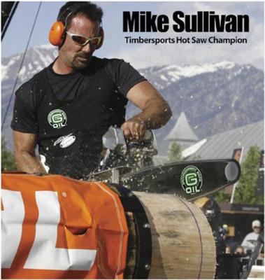 Mike Sullivan, STIHL(R) TIMBERSPORTS(R) Hot Saw Champion and G-OIL Spokesman.  (PRNewsFoto/Green Earth Technologies, Inc.)