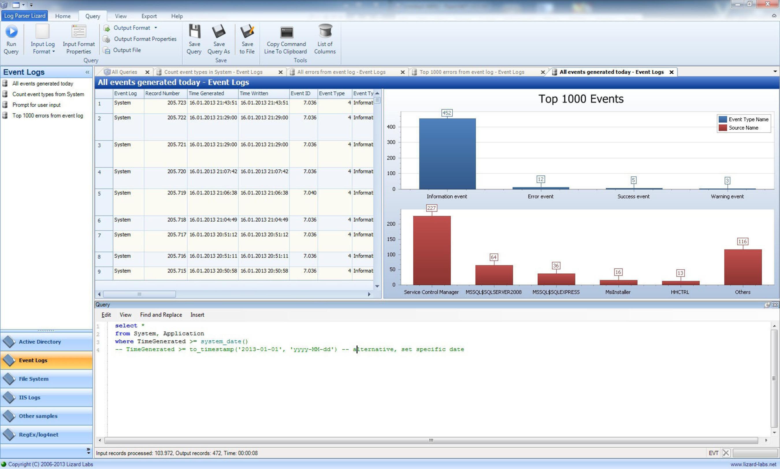 Log Parser Lizard Version 3.0 Screenshot.  (PRNewsFoto/Lizard Labs)