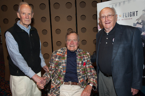 President George H.W. Bush and Mrs. Barbara Bush hosted a screening of SnagFilms Honor Flight on Thursday, May 23rd.  Photographed with President Bush are WWII Veterans Bob Paine and Joe Demler (Honor Flight subject).  (PRNewsFoto/SnagFilms)