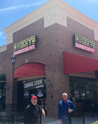 Owner/Operators Ray Smith and Jim Rogers celebrate the opening of Oxford's first Dickey's Barbecue Pit.