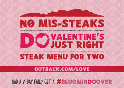 Do Valentine's 'Just Right' This Year and Fool Proof Your Celebration with Outback's Steak Menu for Two.  (PRNewsFoto/Outback Steakhouse)