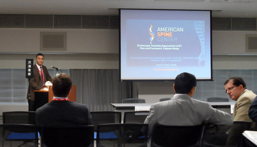 American Spine's co-founder, Dr. Sandeep Sherlekar, presenting at the ISMISS (International Society for Minimal Intervention in Spinal Surgery) in JAPAN. Endoscopic Transiliac Approach to L5-S1 Disc and Foramen Cadaver Study.  (PRNewsFoto/American Spine)