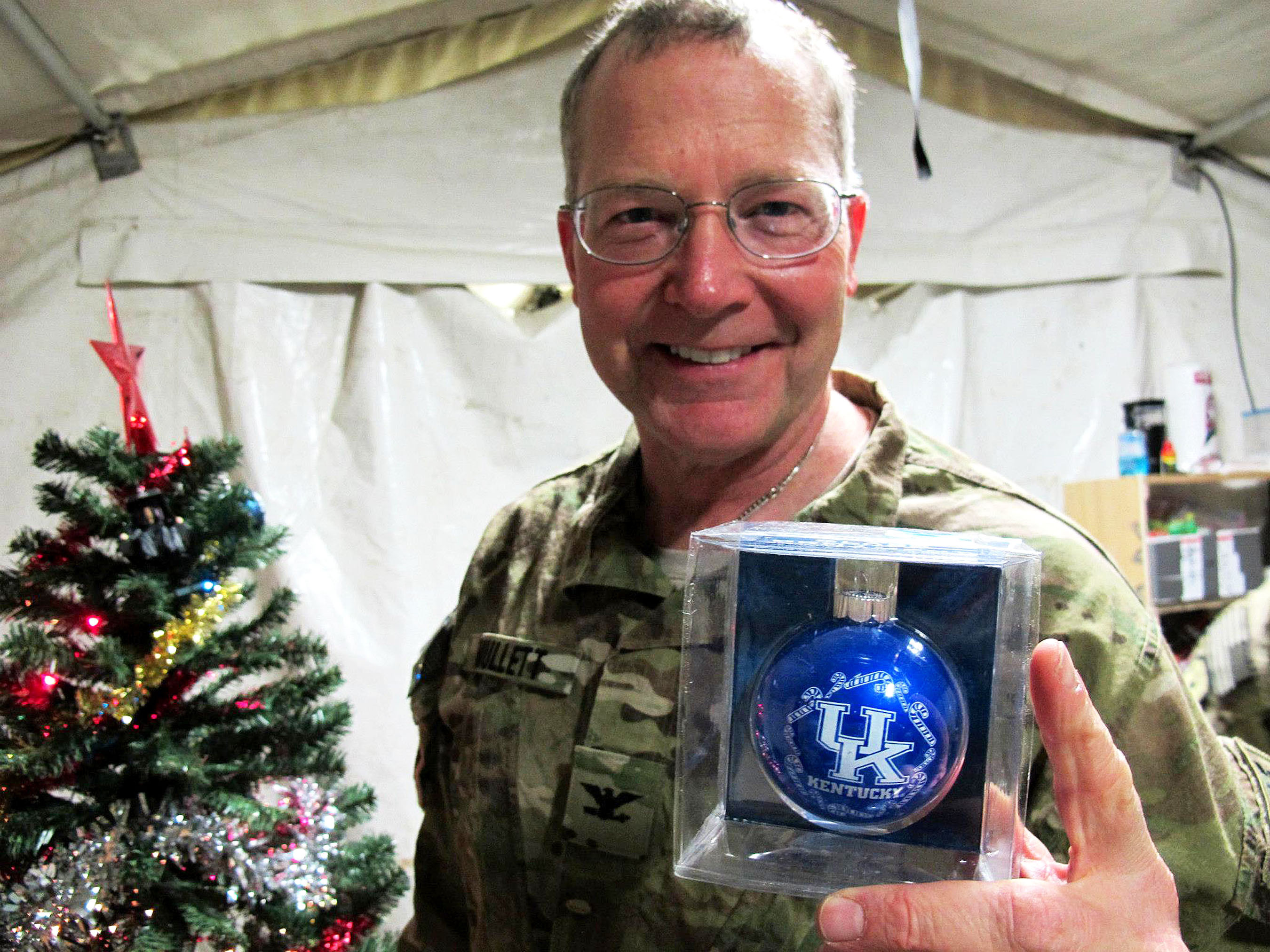 Army Reserve Col. Timothy Mullet receives a reminder of home while serving in Afghanistan. Photo courtesy of Col. Timothy Mullett. (PRNewsFoto/U.S. Army Medical Recruiting Brigade) (PRNewsFoto/)