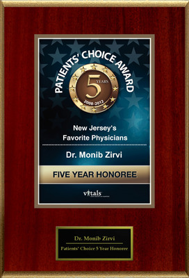 Dr. Monib Zirvi of Berkeley Heights, NJ is a Five-Time Patients' Choice Honoree.  (PRNewsFoto/American Registry)