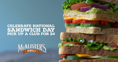 On Thursday, Nov. 3, McAlister's Deli Offers $4 Clubs All Day in Celebration of National Sandwich Day