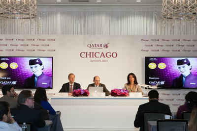 Qatar Airways CEO Mr. Akbar Al Baker addresses media about the airline's global expansion plans on the sidelines of the Chicago route launch (L to R: Qatar Airways Senior Vice President for the Americas, Bart Vos, Qatar Airways CEO Mr. Akbar Al Baker, and Qatar Airways Country Manager for the US, Lisa Markovic).  (PRNewsFoto/Qatar Airways)