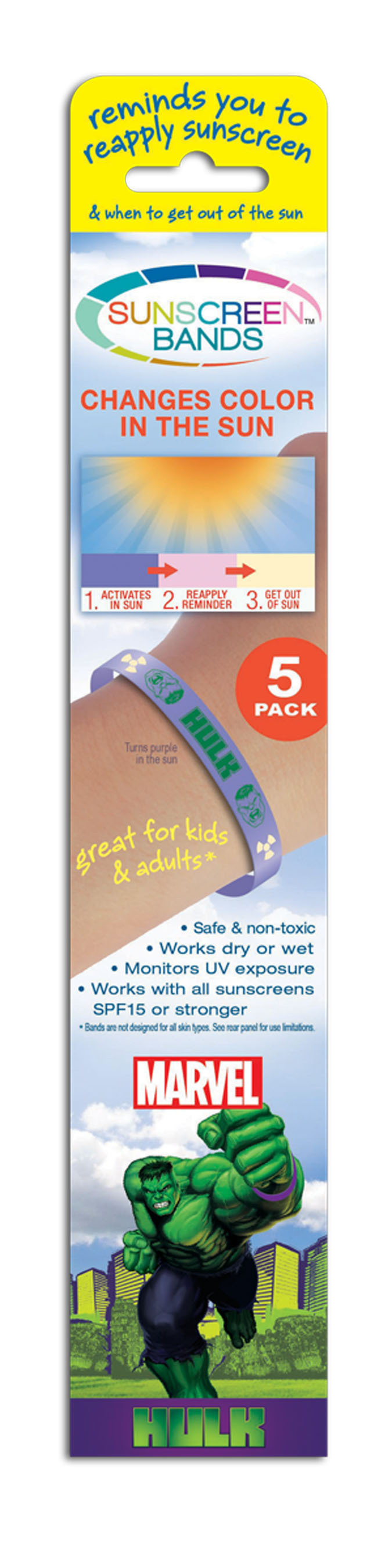 Sunscreen Bands Monitor UV Exposure and Come in Fun Designs. (PRNewsFoto/JADS International, LLC) ...
