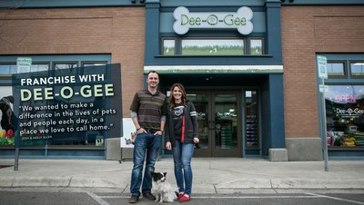 Josh & Holly Allen (and their rescue dog, Jericho), founders of Dee-O-Gee