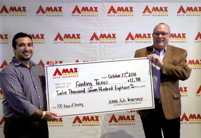 Amyn Rajan, VP of Strategy, Innovation and Corporate Development, donates $12,718 to Feeding Texas representative, Bo Soderbergh. 12,718 non-perishable food items were donated by A-MAX stores and their communities, and matched by A-MAX $1 per item ($12,718) for 100 Days of Giving in celebration of the 100th store opening.
