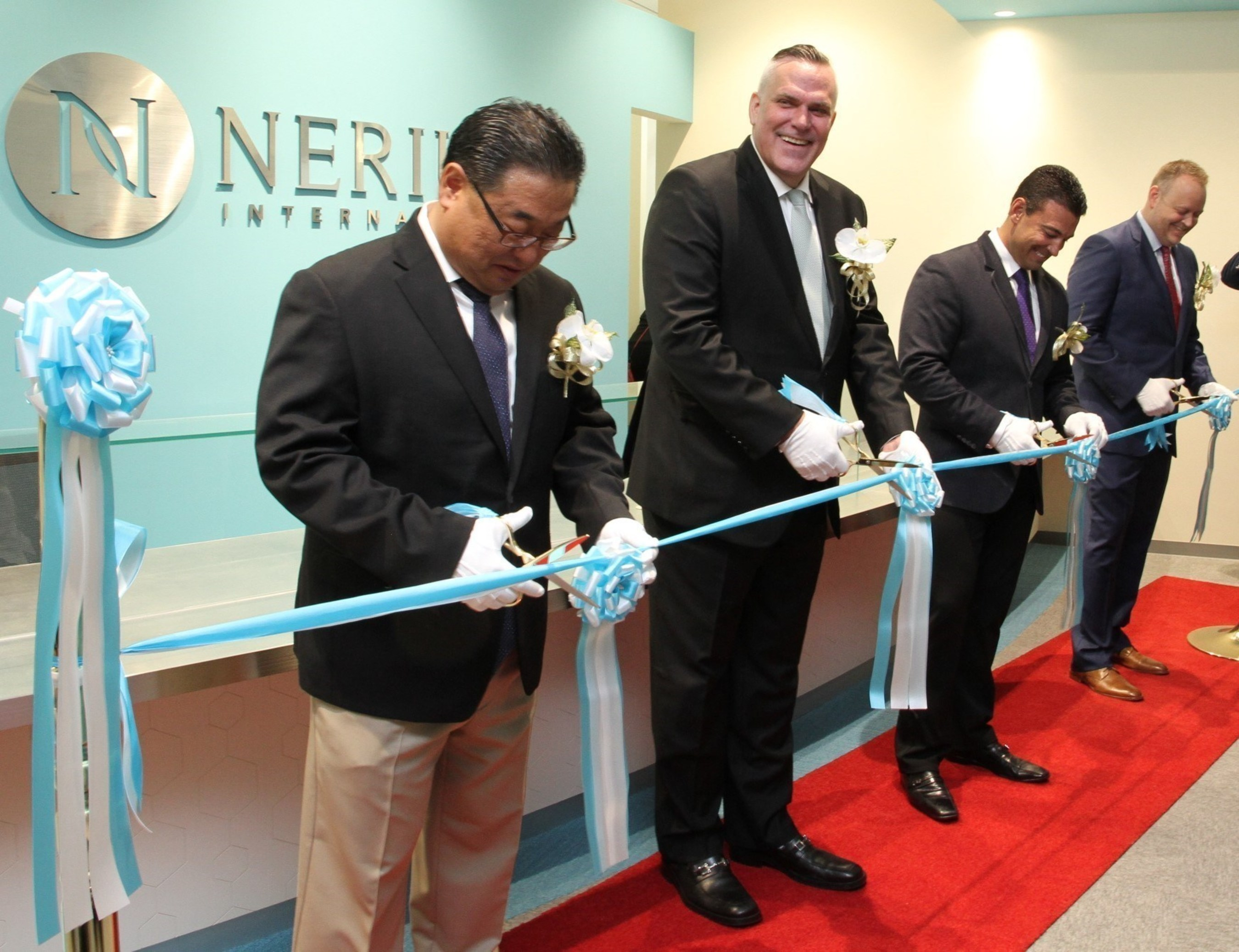 The Nerium Japan Brand Center opened on July 11 in Tokyo. Nerium executives shown left to right include General Manager of Korea BJ Choi, General Manager of Japan Peter Dale, Chief Field Officer  Mark Smith and General Counsel Eric Haynes.