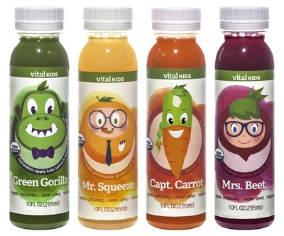 New from Vital Juice: Vital Kids 100% organic, cold-pressed juice helps kids drink less sugar and more fruits and vegetables. Featuring Green Gorilla, Capt. Carrot, Mr. Squeeze and Mrs. Beet. (PRNewsFoto/Vital Juice)