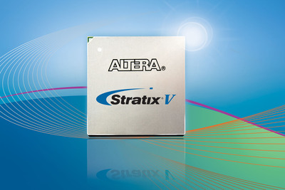 Altera's 28nm Stratix V FPGAs break through today's bandwidth barrier offering: 28-Gbps transceivers, 1.6-Tbps/s serial switching capability, 1,600-Mbps DDR3, 1,840 GMACS or 920 GFLOPs/s. Stratix V includes enhanced building blocks meeting today's increased bandwidth and system performance requirements: Industry's first variable precision DSP block, Register-enriched Adaptive Logic Module, Higher performance embedded RAM architecture, Highly integrated hard IP. Altera has dramatically improved density and I/O performance of FPGAs furthering our competitive position versus ASICs/ASSPs.  (PRNewsFoto/Altera)