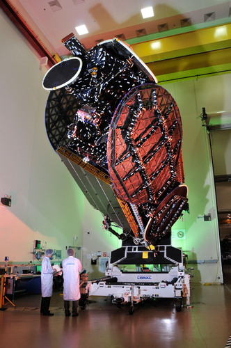 Space Systems/Loral-built satellite for EchoStar is shown here before it shipped to launch base.  ...