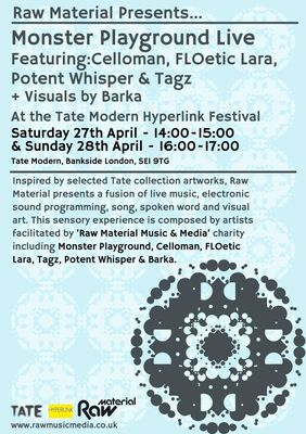Raw Material helps young artists to develop their talents in music, media and performance art. Accomplished members Monster Playground, Celloman, FLOetic Lara, Tagz, Potent Whisper and Barka are all playing at Hyperlink this weekend.