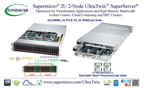 Supermicro(R) 2U 2-Node UltraTwin(TM) - 1TB in 32x DIMMs, Dual Intel Xeon E7-2880 v2. (PRNewsFoto/Super Micro ...
