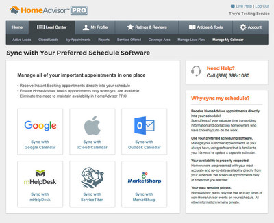 HomeAdvisor's Instant Booking marketplace will allow for calendar integration with Apple iCloud, Microsoft Outlook, mHelpDesk, ServiceTitan and MarketSharp.