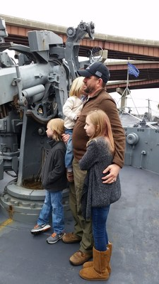 James Hogan, U.S. Navy injured veteran and Wounded Warrior Project® Alumnus, and his family visit the USS Slater.