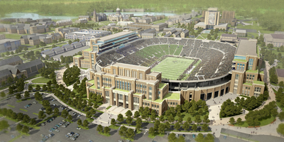 Dimensional Innovations from Kansas City has been selected by Notre Dame University to provide branding services for the iconic Campus Crossroads Project. (PRNewsFoto/Dimensional Innovations)