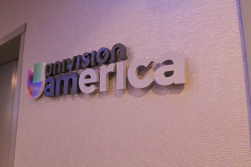 The Univision America sign consists of colored letters that pop from the wall and is overall friendly and approachable. (PRNewsFoto/Impact Architectural Signs)