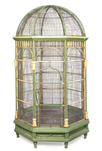 A Victorian Painted Conservatory Birdcage, having a domed top over the octagonal body with a hinged door. ...