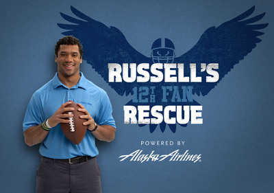 Star NFL quarterback Russell Wilson and Alaska Airlines want to fly two loyal Seahawks fans and their guests to Seattle for Saturday's NFL playoff game.  (PRNewsFoto/Alaska Airlines)