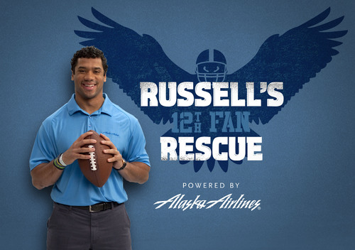 Star NFL quarterback Russell Wilson and Alaska Airlines want to fly two loyal Seahawks fans and their guests to Seattle for Saturday's NFL playoff game. (PRNewsFoto/Alaska Airlines) (PRNewsFoto/ALASKA AIRLINES)