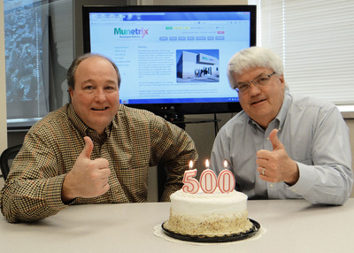 "Munetrix partners Bob Kittle (l.) and Richard ""Buzz"" Brown celebrate reaching a significant milestone, logging over 500 shared services postings to their popular government transparency site. These solutions range from cost- and time-saving operational improvements to a unique collaboration in Michigan's Upper Peninsula that is seeking a safe routes to school grant - comprising a village, a school system, a hospital, a multi-county district health department and a Native American tribe.  (PRNewsFoto/Munetrix, LLC)"