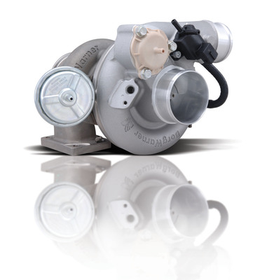 Designed for powerful performance in a compact package, BorgWarner's new EFR-7163 turbocharger achieves up to 550 horsepower while using a small B1 frame size that fits easily into a tight engine bay.  (PRNewsFoto/BorgWarner Inc.)