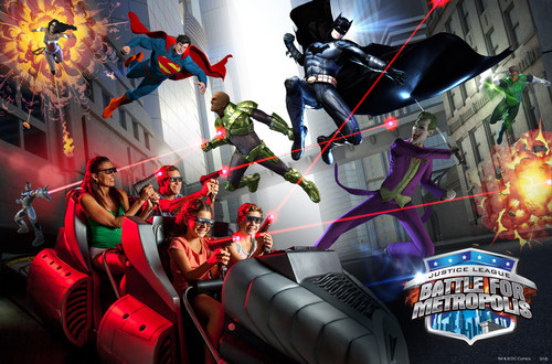 Traveling in six-passenger vehicles, guests will become members of the JUSTICE LEAGUE Reserve Team and engage in a full-sensory journey as they work to outsmart Lex Luthor and The Joker and save the city of Metropolis. (PRNewsFoto/Six Flags Over Texas)