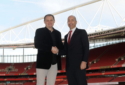 Emirates, London - 27 January 2014: Bjoern Gulden CEO of PUMA and Ivan Gazidis CEO of Arsenal FC, confirm a new long term partnership