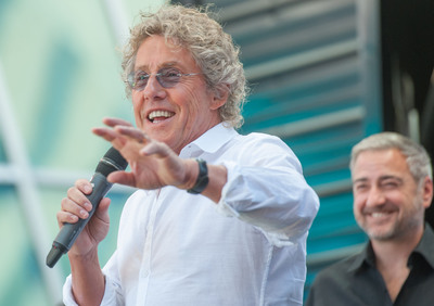 Roger Daltrey, lead singer of The Who and Jeff Victor, president of Fremont Street Experience at a joint press conference announcing The Who's new Viva Vision show, The Who - Miles Over Vegas on Monday, Aug. 12 at Fremont Street Experience in Downtown Las Vegas.  (PRNewsFoto/Fremont Street Experience)