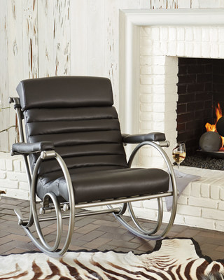 Woodard Anniversary Rocker in black can also be used indoors.