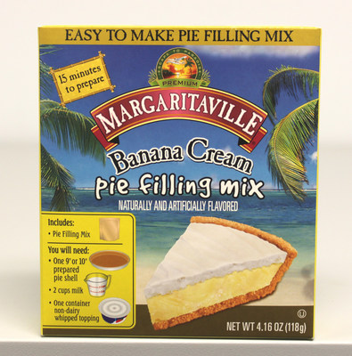 Front panel of the Margaritaville Banana Crème Pie Filling package that is being voluntarily recalled for possible Salmonella risk