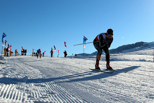 Ski Lovers Skiing on Nalat Ski Field. (PRNewsFoto/City Channel of China Economic Net) (PRNewsFoto/CITY CHANNEL OF CHINA ECONOMIC)