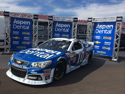 Danica Patrick is giving NASCAR fans another reason to smile with the addition of Aspen Dental as primary sponsor of the No. 10 team of Stewart-Haas Racing for two NASCAR Sprint Cup Series races beginning in 2014. Patrick will take to the track in the fresh, new blue-and-white No. 10 Aspen Dental Chevrolet SS March 9 at Las Vegas Motor Speedway and Aug. 31 at Atlanta Motor Speedway. (PRNewsFoto/Aspen Dental) (PRNewsFoto/ASPEN DENTAL)