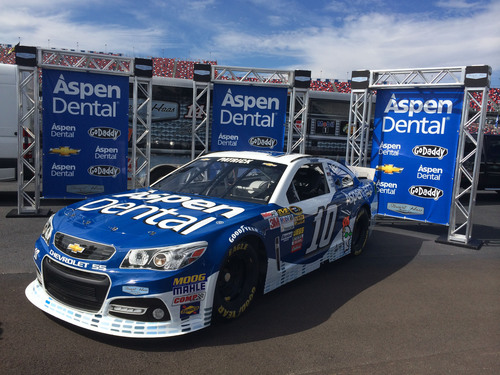 Danica Patrick is giving NASCAR fans another reason to smile with the addition of Aspen Dental as primary sponsor of the No. 10 team of Stewart-Haas Racing for two NASCAR Sprint Cup Series races beginning in 2014. Patrick will take to the track in the fresh, new blue-and-white No. 10 Aspen Dental Chevrolet SS March 9 at Las Vegas Motor Speedway and Aug. 31 at Atlanta Motor Speedway.  (PRNewsFoto/Aspen Dental)
