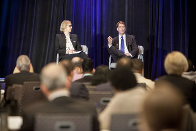 Panelists Christine Stearns and Robert Garrett speaking during the Rutgers Institute for Ethical Leadership conference in 2015.