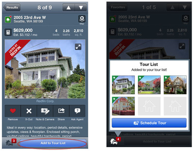 Redfin Home Tour Request Feature for Smartphone and Tablet.  (PRNewsFoto/Redfin)