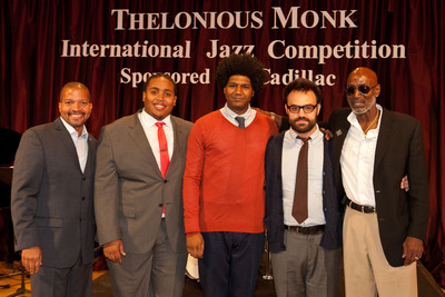 (L-R) Don Butler, Vice President of Cadillac, congratulates Thelonious Monk International Jazz Drums Competition winners Jamison Ross (1st), Justin Brown (2nd) and Colin Stranahan (3rd) with Thelonious Monk, Jr. Photo Courtesy of Thelonious Monk Institute Of Jazz.  (PRNewsFoto/Thelonious Monk Institute of Jazz)