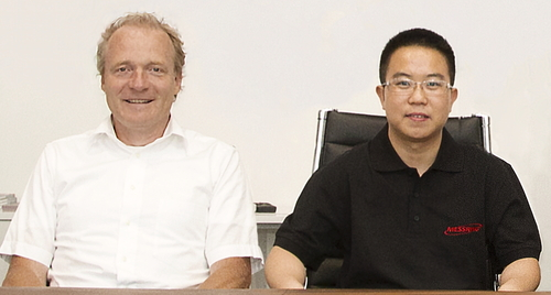 The CEO of MESSRING GmbH, Dierk Arp (left) and the CEO of MESSRING China, Guang Zhu (right) are looking forward to a bright future for the company in China. Copyright MESSRING. Use of picture is free of charge. (PRNewsFoto/MESSRING Systembau GmbH)